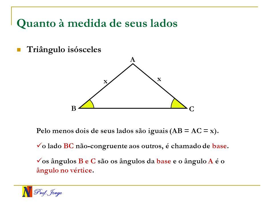 Prof. Jorge Quanto à medida de seus lados Triângulo isósceles A B C x x Pelo menos dois de seus lados são iguais (AB = AC = x). o lado BC não-congruen
