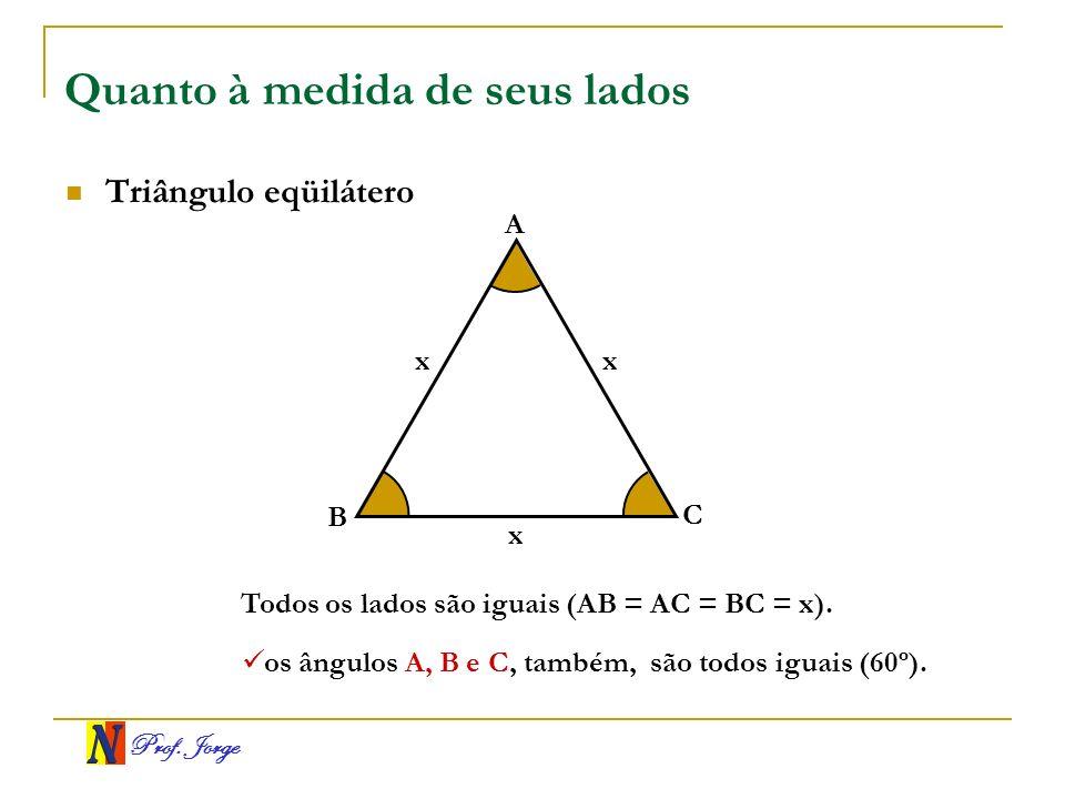 Prof. Jorge Quanto à medida de seus lados Triângulo eqüilátero A B C xx Todos os lados são iguais (AB = AC = BC = x). os ângulos A, B e C, também, são