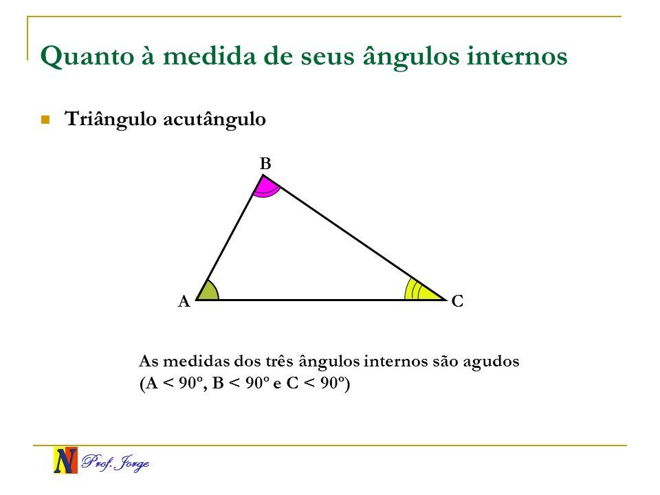 Prof. Jorge Quanto à medida de seus ângulos internos Triângulo acutângulo A B C As medidas dos três ângulos internos são agudos (A < 90º, B < 90º e C