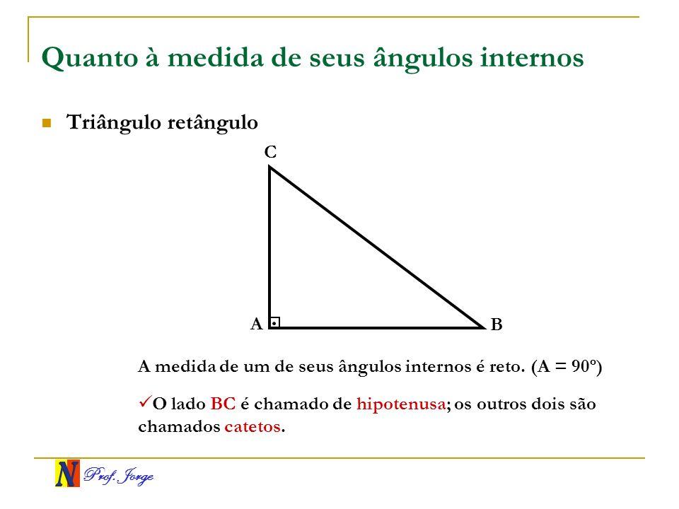 Prof. Jorge Quanto à medida de seus ângulos internos Triângulo retângulo A B C A medida de um de seus ângulos internos é reto. (A = 90º) O lado BC é c