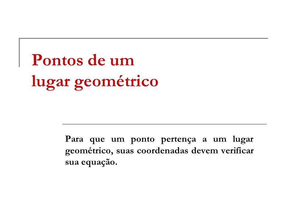 Pontos de um lugar geométrico Para que um ponto pertença a um lugar geométrico, suas coordenadas devem verificar sua equação.