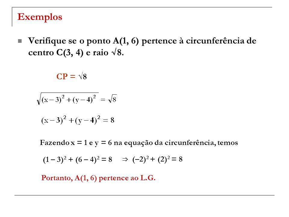 Exemplos Verifique se o ponto A(1, 6) pertence à circunferência de centro C(3, 4) e raio 8. CP = 8 Fazendo x = 1 e y = 6 na equação da circunferência,