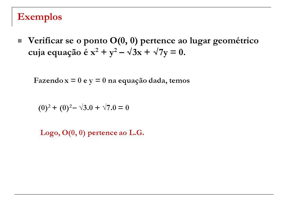 Exemplos Verificar se o ponto O(0, 0) pertence ao lugar geométrico cuja equação é x 2 + y 2 – 3x + 7y = 0. Fazendo x = 0 e y = 0 na equação dada, temo