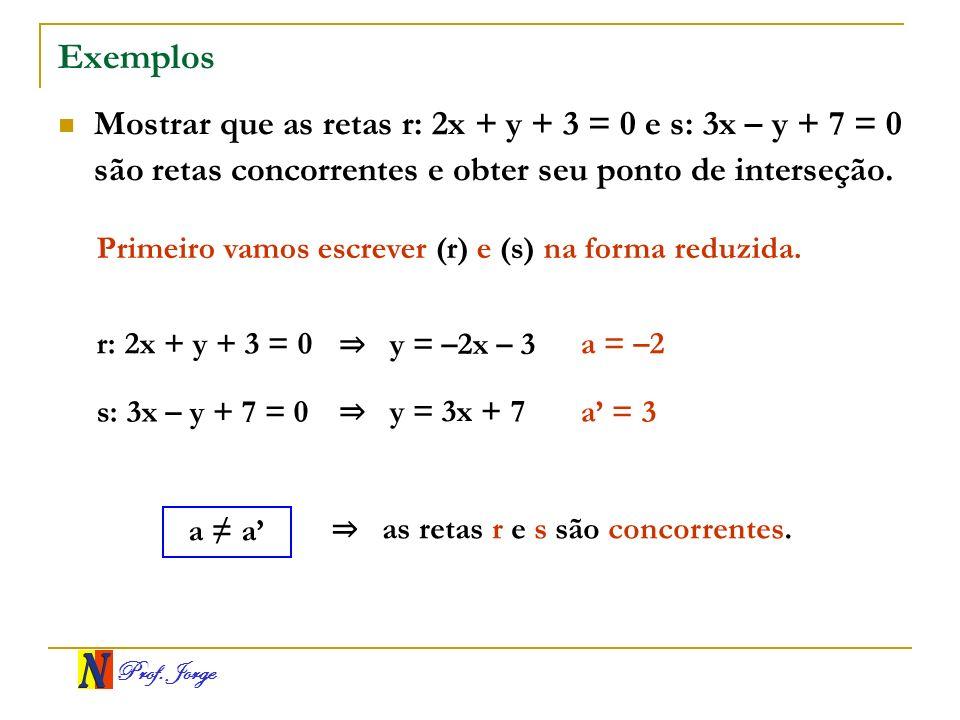 Prof. Jorge Exemplos Mostrar que as retas r: 2x + y + 3 = 0 e s: 3x – y + 7 = 0 são retas concorrentes e obter seu ponto de interseção. Primeiro vamos