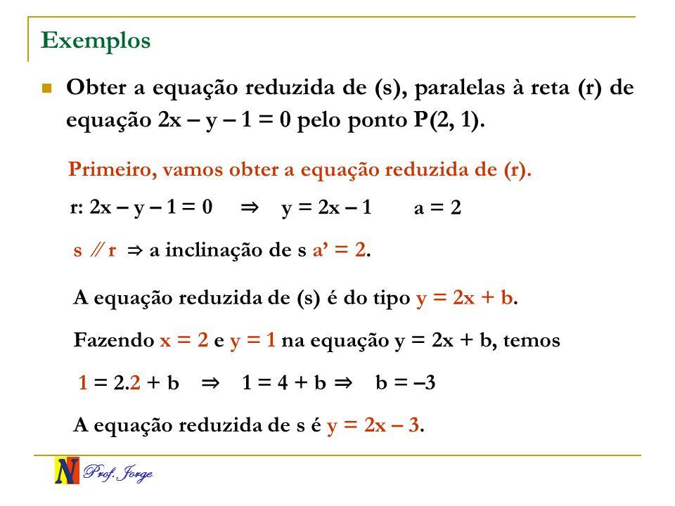 Prof. Jorge Exemplos Obter a equação reduzida de (s), paralelas à reta (r) de equação 2x – y – 1 = 0 pelo ponto P(2, 1). Primeiro, vamos obter a equaç