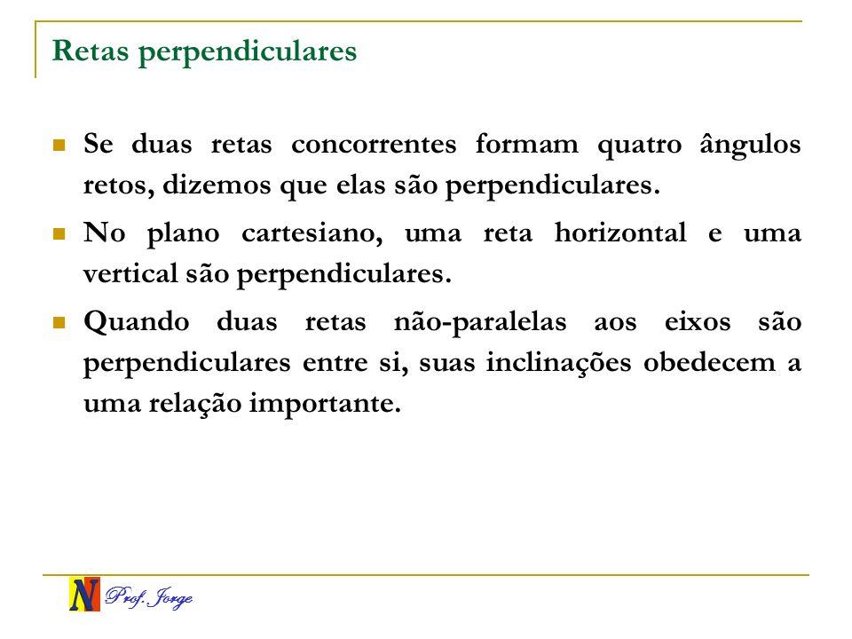 Prof. Jorge Retas perpendiculares Se duas retas concorrentes formam quatro ângulos retos, dizemos que elas são perpendiculares. No plano cartesiano, u
