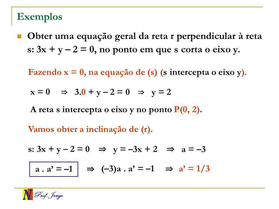 Prof. Jorge Exemplos Obter uma equação geral da reta r perpendicular à reta s: 3x + y – 2 = 0, no ponto em que s corta o eixo y. Fazendo x = 0, na equ