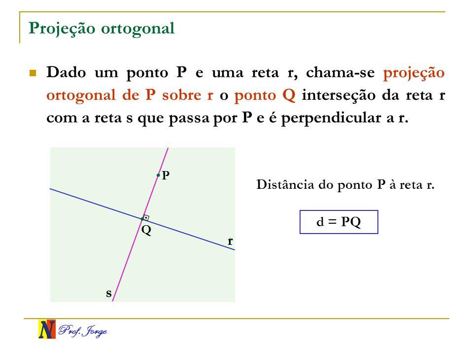Prof. Jorge Projeção ortogonal Dado um ponto P e uma reta r, chama-se projeção ortogonal de P sobre r o ponto Q interseção da reta r com a reta s que