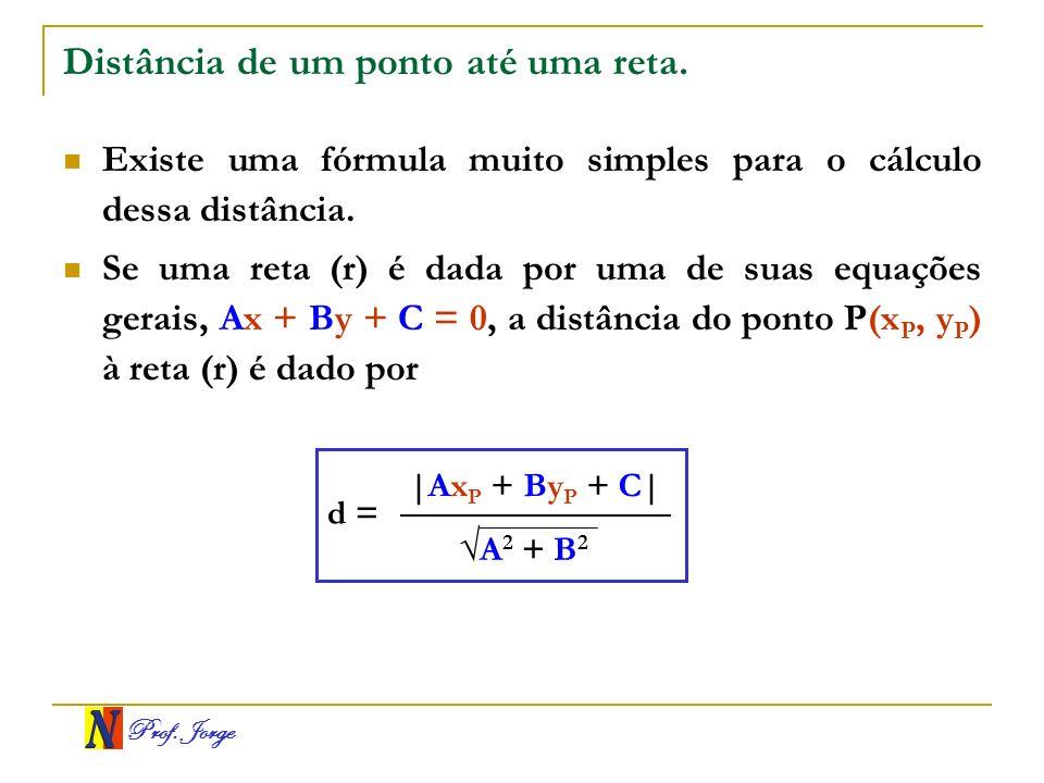 Prof. Jorge Distância de um ponto até uma reta. Existe uma fórmula muito simples para o cálculo dessa distância. Se uma reta (r) é dada por uma de sua