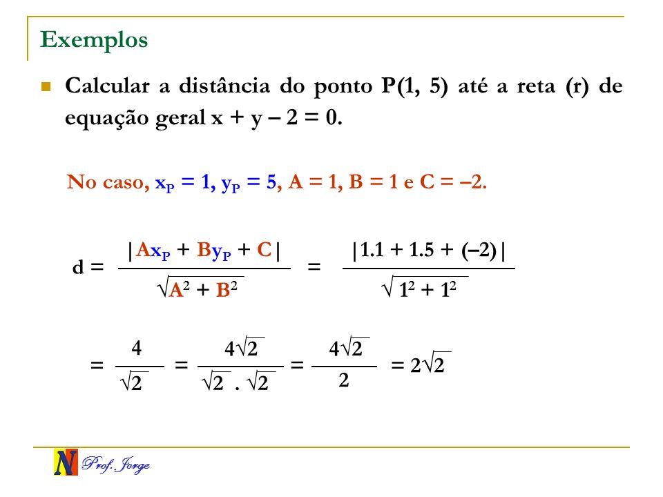 Prof. Jorge Exemplos Calcular a distância do ponto P(1, 5) até a reta (r) de equação geral x + y – 2 = 0. d = A 2 + B 2  Ax P + By P + C  No caso, x P