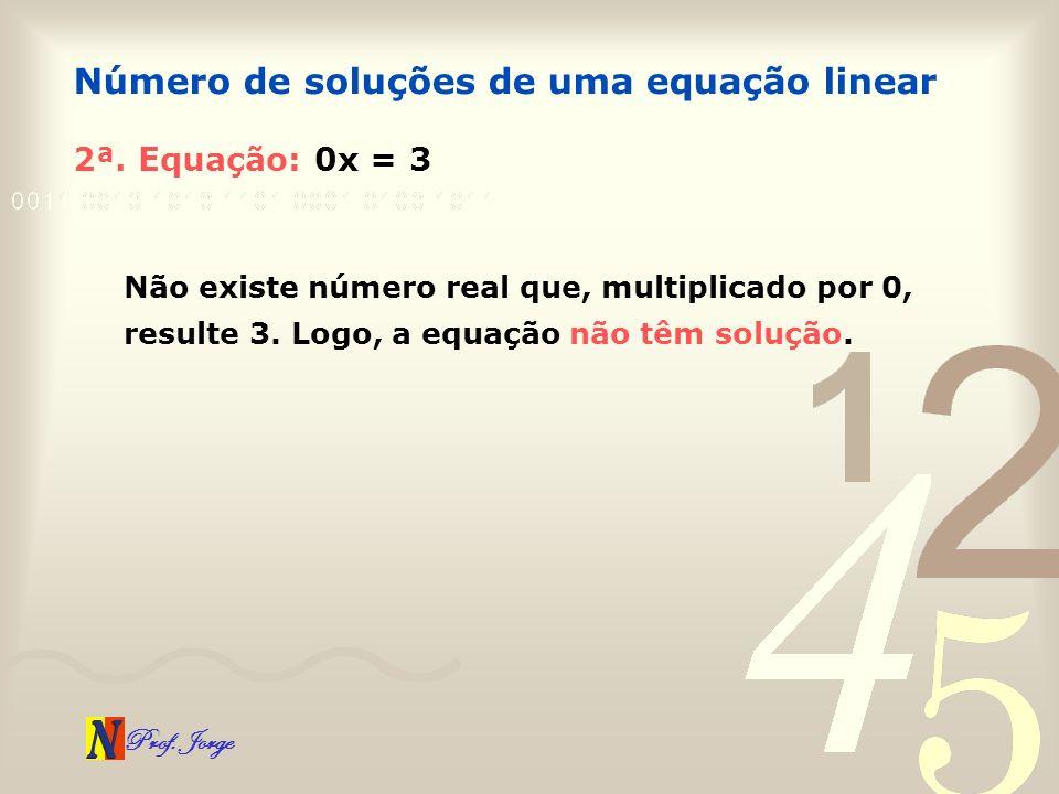 Prof. Jorge 2ª. Equação: 0x = 3 Número de soluções de uma equação linear Não existe número real que, multiplicado por 0, resulte 3. Logo, a equação nã
