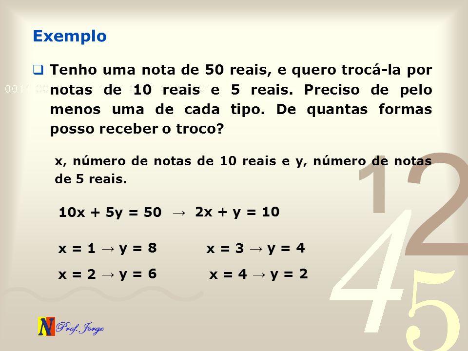 Prof. Jorge Tenho uma nota de 50 reais, e quero trocá-la por notas de 10 reais e 5 reais. Preciso de pelo menos uma de cada tipo. De quantas formas po