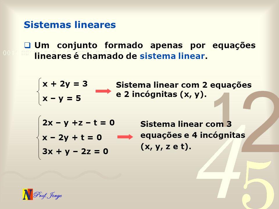 Prof. Jorge Sistemas lineares Um conjunto formado apenas por equações lineares é chamado de sistema linear. x + 2y = 3 Sistema linear com 2 equações e