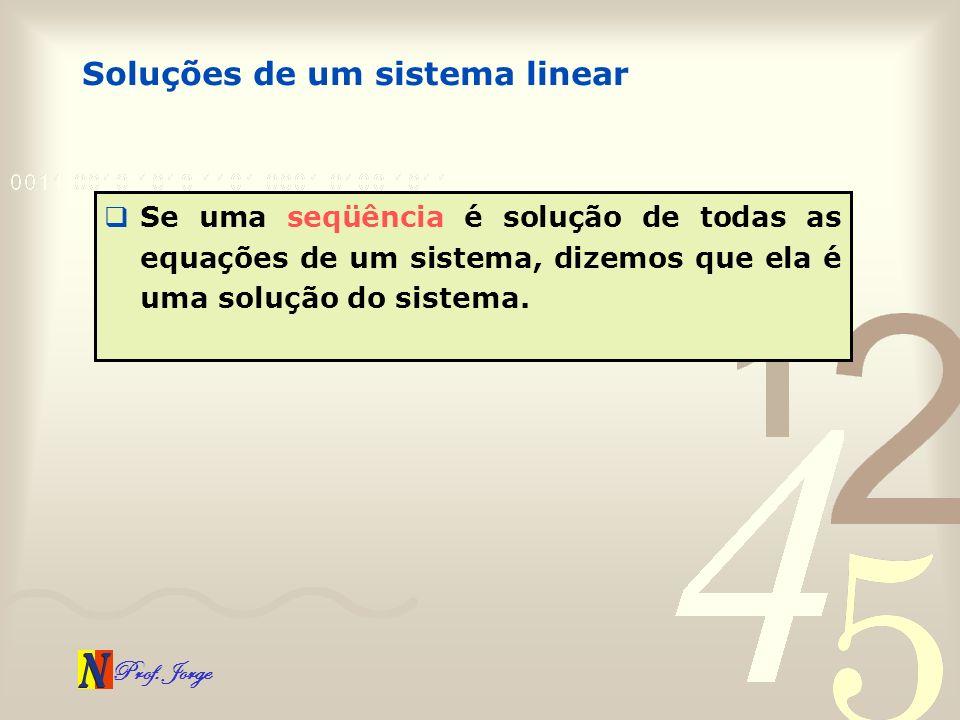 Prof. Jorge Soluções de um sistema linear Se uma seqüência é solução de todas as equações de um sistema, dizemos que ela é uma solução do sistema.
