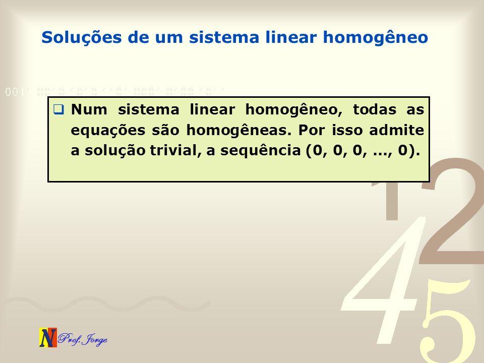 Prof. Jorge Soluções de um sistema linear homogêneo Num sistema linear homogêneo, todas as equações são homogêneas. Por isso admite a solução trivial,