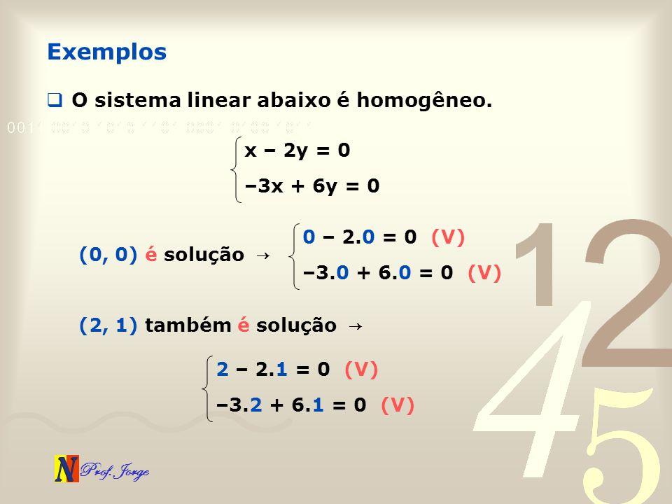 Prof. Jorge O sistema linear abaixo é homogêneo. Exemplos x – 2y = 0 –3x + 6y = 0 (0, 0) é solução 0 – 2.0 = 0 (V) –3.0 + 6.0 = 0 (V) (2, 1) também é