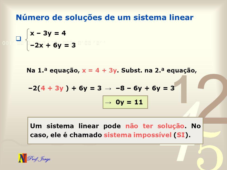 Prof. Jorge Número de soluções de um sistema linear x – 3y = 4 –2x + 6y = 3 Na 1.ª equação, x = 4 + 3y. Subst. na 2.ª equação, –2(4 + 3y ) + 6y = 3 –8