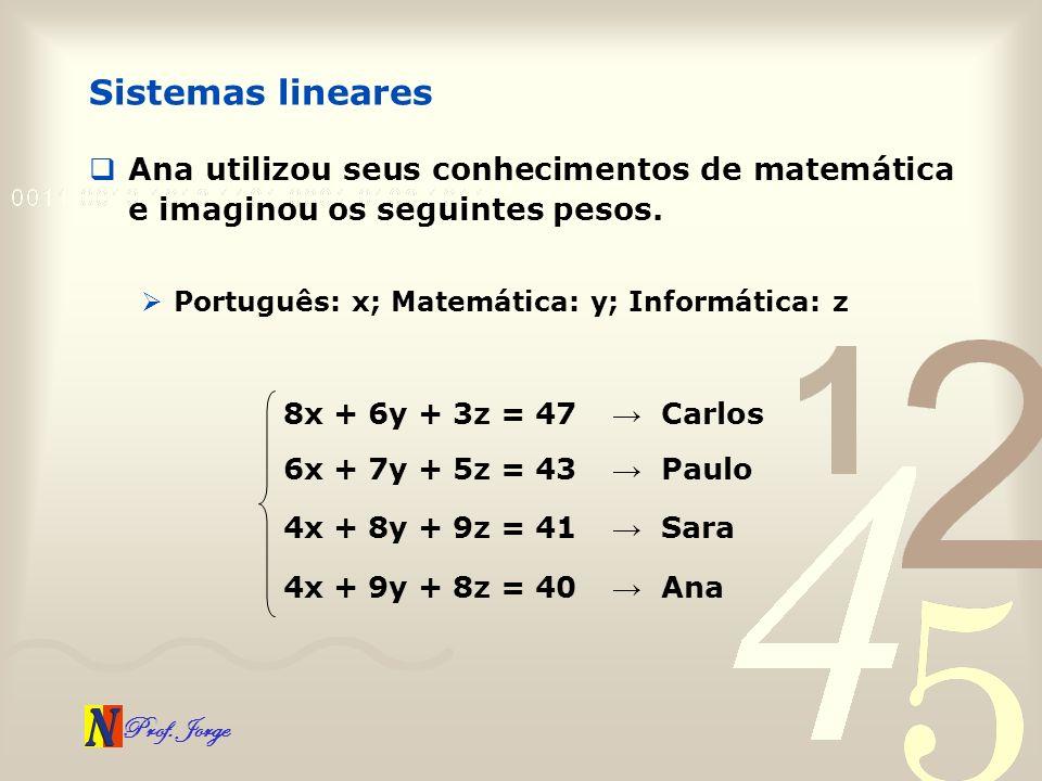 Prof. Jorge Sistemas lineares Ana utilizou seus conhecimentos de matemática e imaginou os seguintes pesos. Português: x; Matemática: y; Informática: z