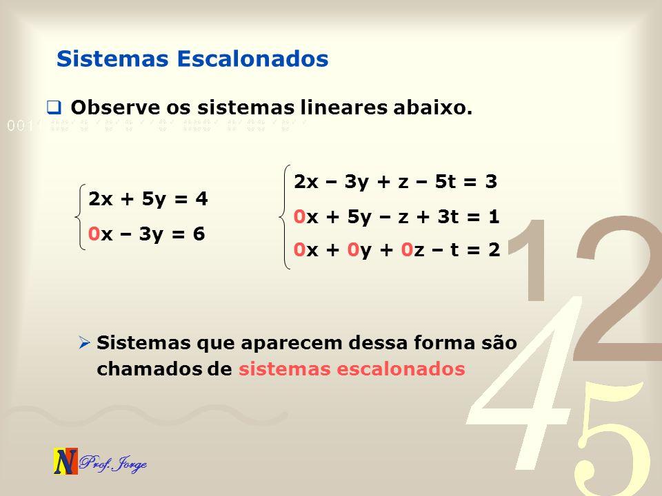 Prof. Jorge Sistemas Escalonados Observe os sistemas lineares abaixo. 2x + 5y = 4 0x – 3y = 6 2x – 3y + z – 5t = 3 0x + 5y – z + 3t = 1 0x + 0y + 0z –