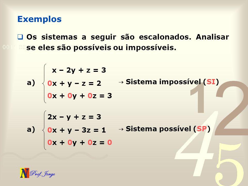 Prof. Jorge Os sistemas a seguir são escalonados. Analisar se eles são possíveis ou impossíveis. Exemplos a) x – 2y + z = 3 0x + y – z = 2 0x + 0y + 0