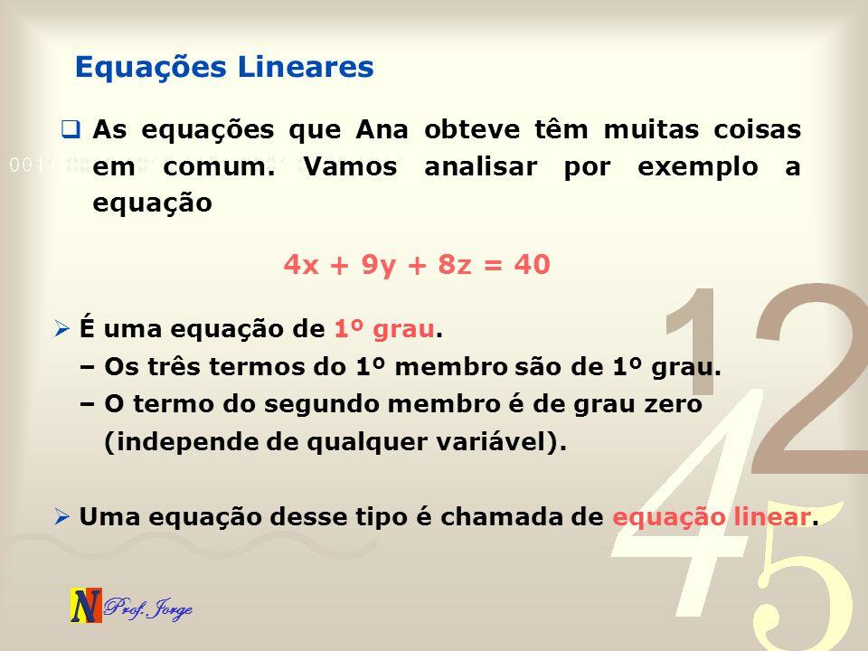 Prof. Jorge As equações que Ana obteve têm muitas coisas em comum. Vamos analisar por exemplo a equação Equações Lineares 4x + 9y + 8z = 40 É uma equa