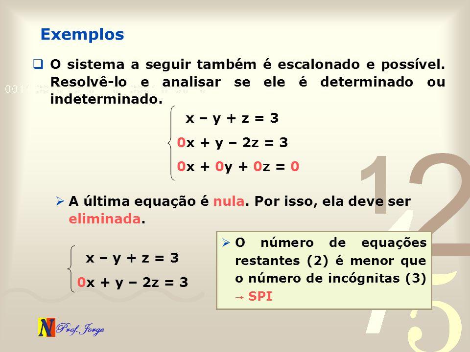 Prof. Jorge Exemplos O sistema a seguir também é escalonado e possível. Resolvê-lo e analisar se ele é determinado ou indeterminado. x – y + z = 3 0x