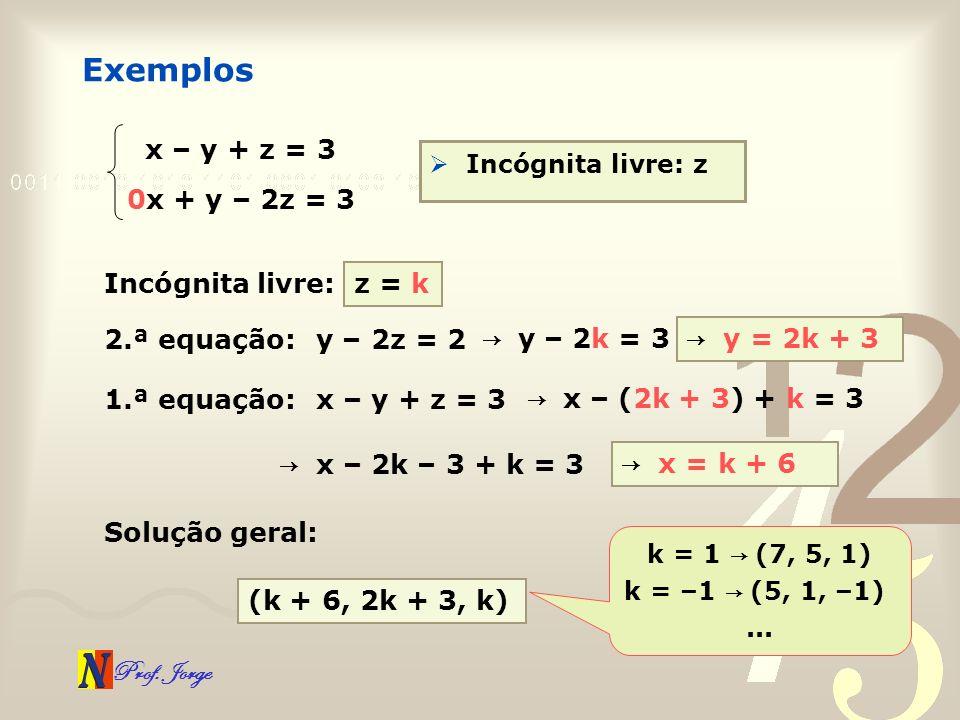 Prof. Jorge Exemplos x – y + z = 3 0x + y – 2z = 3 Incógnita livre: z Incógnita livre:z = k 2.ª equação:y – 2z = 2 y – 2k = 3 y = 2k + 3 1.ª equação:x
