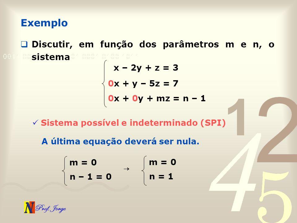 Prof. Jorge Discutir, em função dos parâmetros m e n, o sistema Exemplo x – 2y + z = 3 0x + y – 5z = 7 0x + 0y + mz = n – 1 Sistema possível e indeter