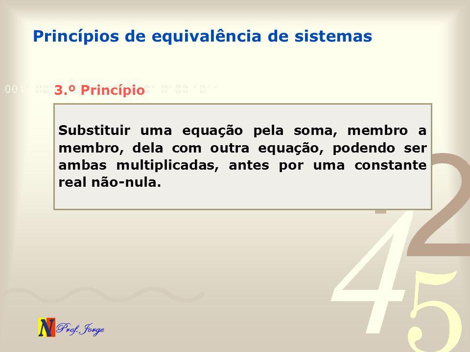 Prof. Jorge Princípios de equivalência de sistemas 3.º Princípio Substituir uma equação pela soma, membro a membro, dela com outra equação, podendo se