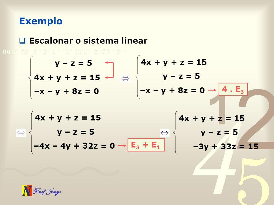 Prof. Jorge Escalonar o sistema linear Exemplo y – z = 5 4x + y + z = 15 –x – y + 8z = 0 y – z = 5 4x + y + z = 15 –x – y + 8z = 0 4. E 3 y – z = 5 4x