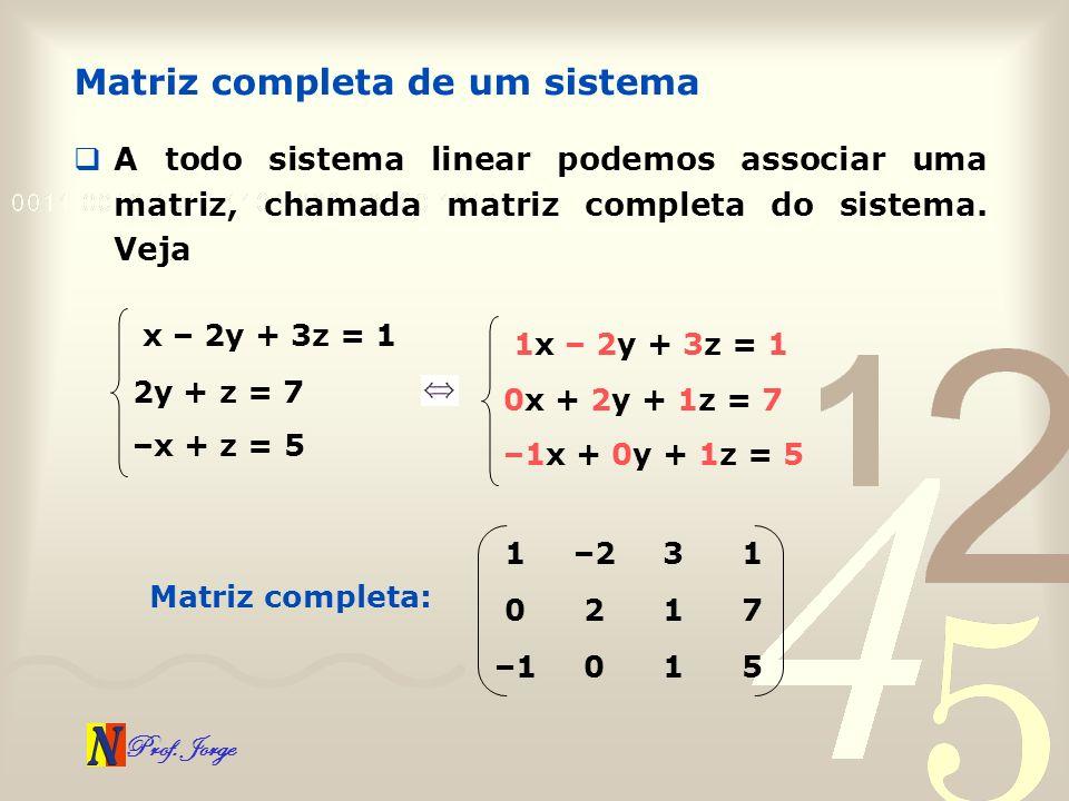 Prof. Jorge Matriz completa de um sistema A todo sistema linear podemos associar uma matriz, chamada matriz completa do sistema. Veja x – 2y + 3z = 1