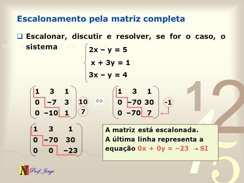 Prof. Jorge Escalonamento pela matriz completa Escalonar, discutir e resolver, se for o caso, o sistema 2x – y = 5 x + 3y = 1 3x – y = 4 1–100 3–70 13