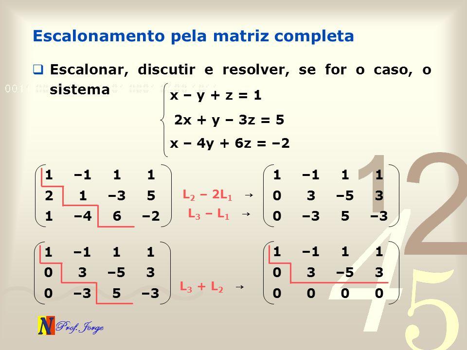 Prof. Jorge Escalonamento pela matriz completa Escalonar, discutir e resolver, se for o caso, o sistema x – y + z = 1 2x + y – 3z = 5 x – 4y + 6z = –2