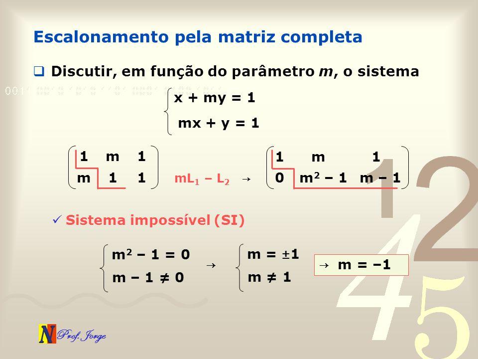 Prof. Jorge Escalonamento pela matriz completa Discutir, em função do parâmetro m, o sistema x + my = 1 mx + y = 1 1m1 m11 mL 1 – L 2 m – 1m 2 – 10 1m