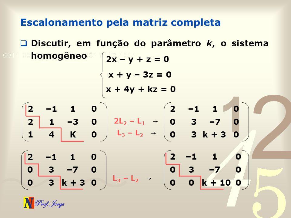 Prof. Jorge Escalonamento pela matriz completa Discutir, em função do parâmetro k, o sistema homogêneo 2x – y + z = 0 x + y – 3z = 0 x + 4y + kz = 0 2