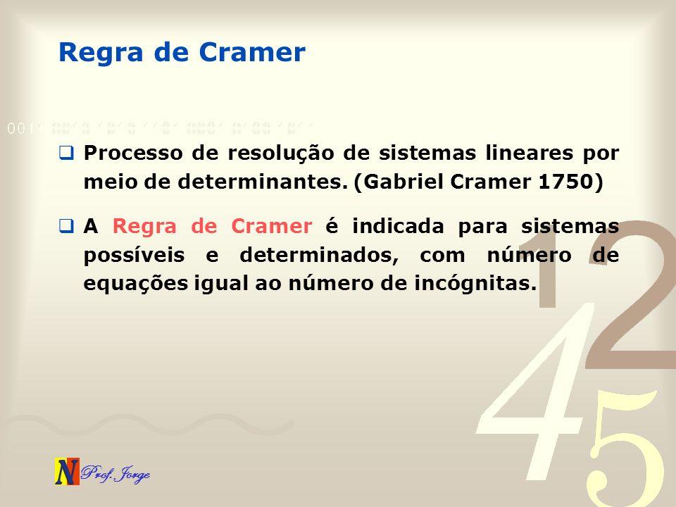 Prof. Jorge Regra de Cramer Processo de resolução de sistemas lineares por meio de determinantes. (Gabriel Cramer 1750) A Regra de Cramer é indicada p