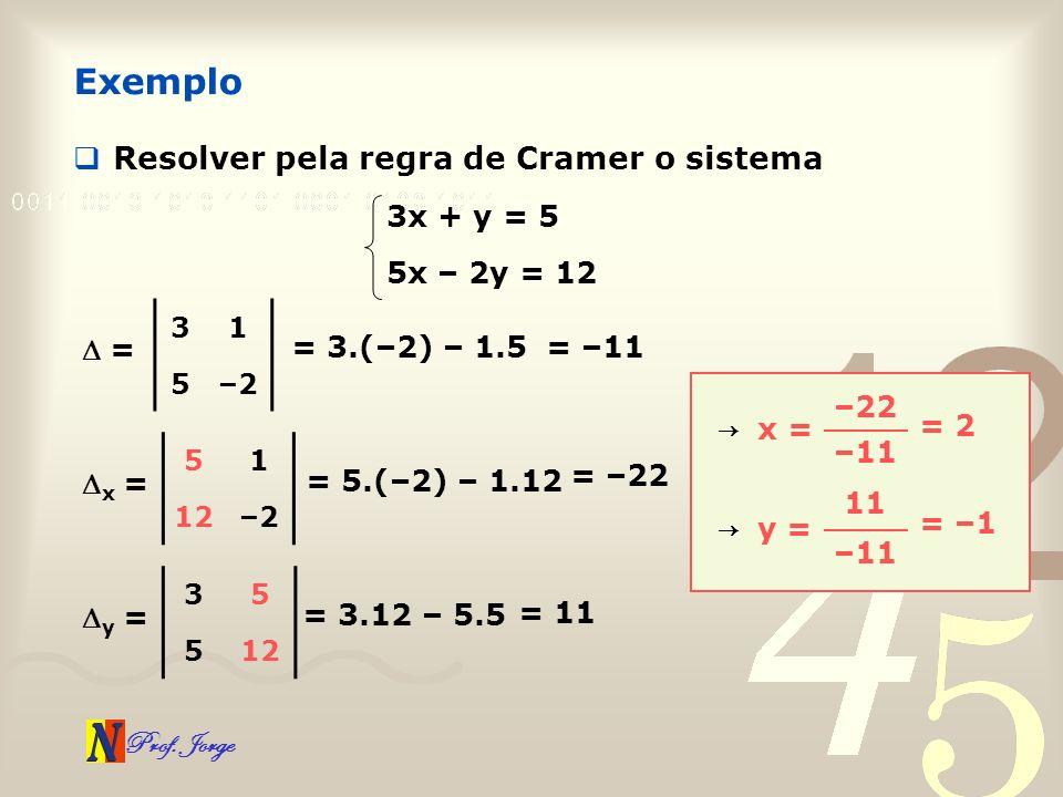 Prof. Jorge Exemplo Resolver pela regra de Cramer o sistema 3x + y = 5 5x – 2y = 12 31 5–2 = = 3.(–2) – 1.5 51 12–2 x = = 5.(–2) – 1.12 35 512 y = = 3