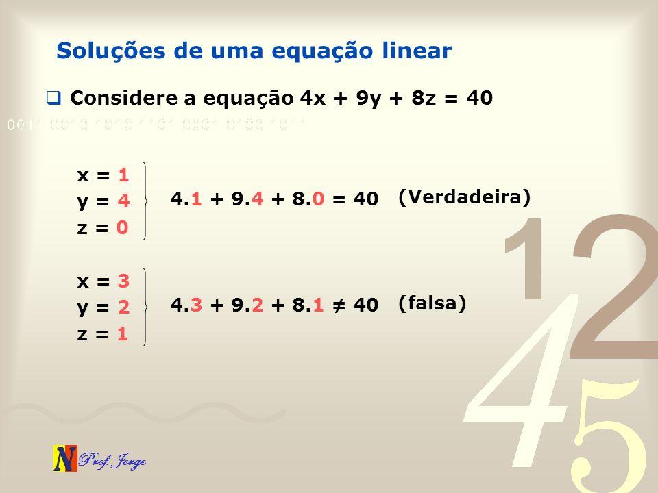 Prof. Jorge Considere a equação 4x + 9y + 8z = 40 Soluções de uma equação linear x = 1 y = 4 z = 0 4.1 + 9.4 + 8.0 = 40 (Verdadeira) x = 3 y = 2 z = 1
