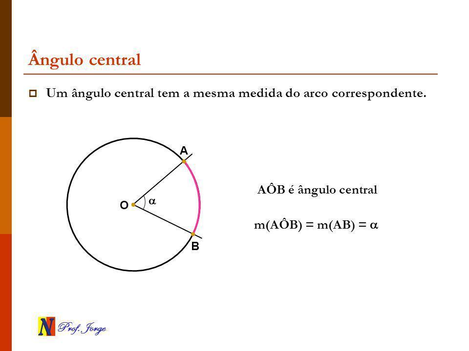 Prof.Jorge Ângulo central Um ângulo central tem a mesma medida do arco correspondente.