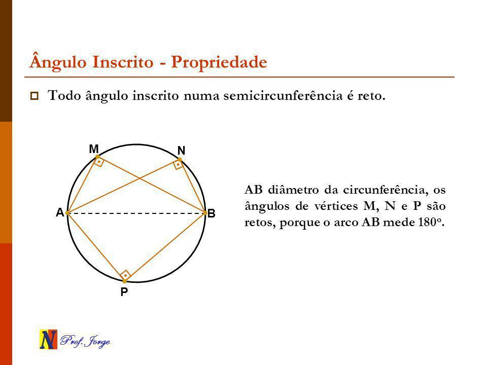 Prof. Jorge Ângulo Inscrito - Propriedade AB diâmetro da circunferência, os ângulos de vértices M, N e P são retos, porque o arco AB mede 180 o. Todo
