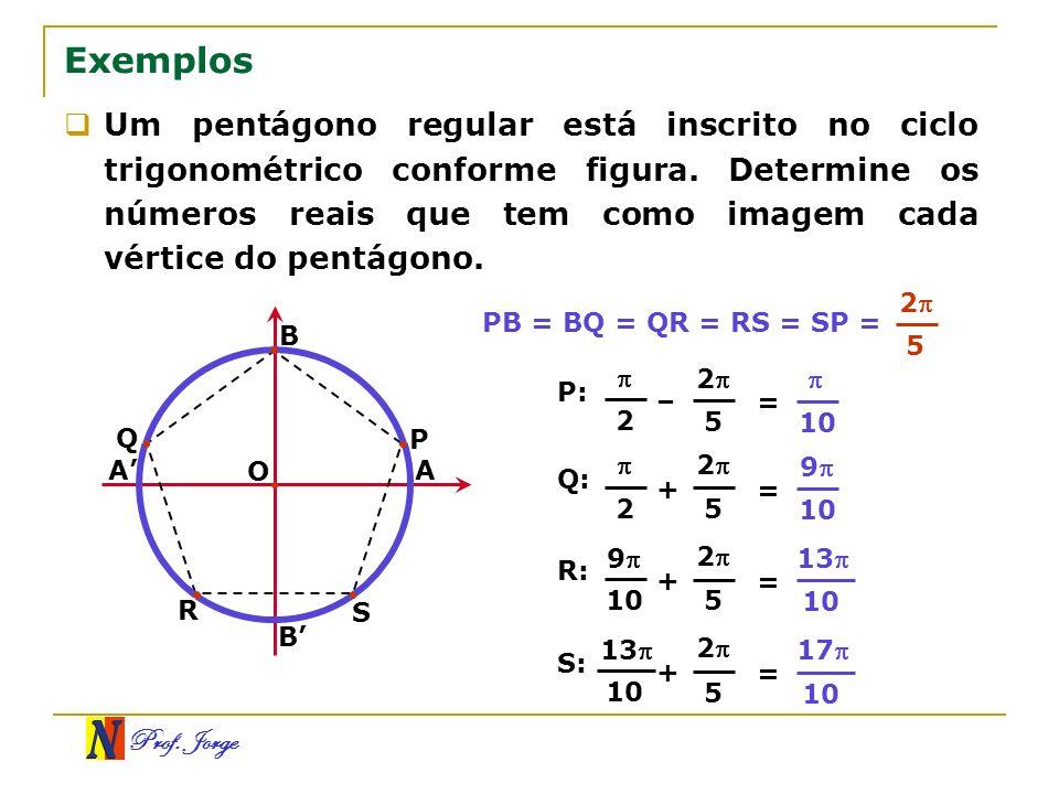 Prof. Jorge Q 5 Exemplos Um pentágono regular está inscrito no ciclo trigonométrico conforme figura. Determine os números reais que tem como imagem ca