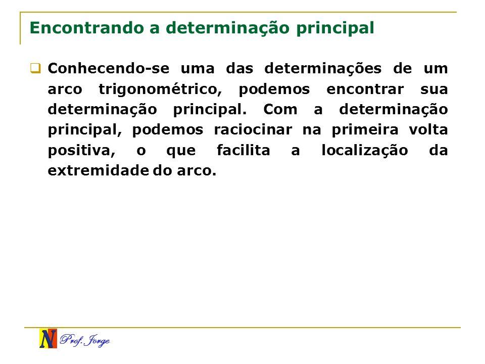 Prof. Jorge Encontrando a determinação principal Conhecendo-se uma das determinações de um arco trigonométrico, podemos encontrar sua determinação pri