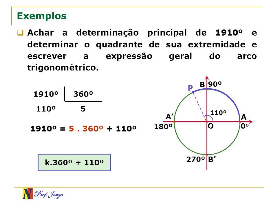 Prof. Jorge 5110º 360º1910º Exemplos Achar a determinação principal de 1910º e determinar o quadrante de sua extremidade e escrever a expressão geral