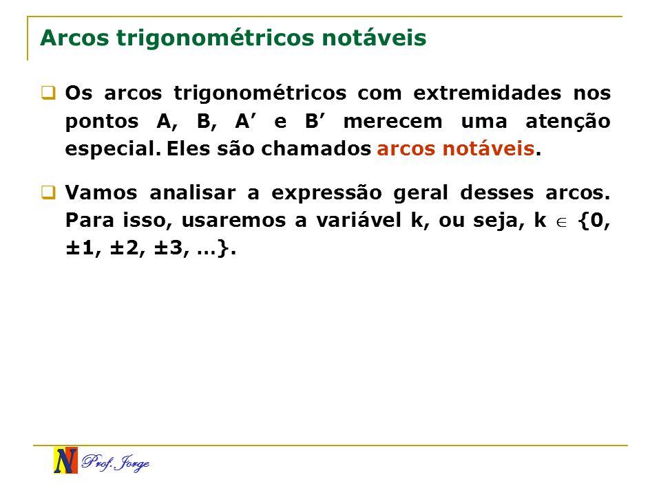 Prof. Jorge Arcos trigonométricos notáveis Os arcos trigonométricos com extremidades nos pontos A, B, A e B merecem uma atenção especial. Eles são cha
