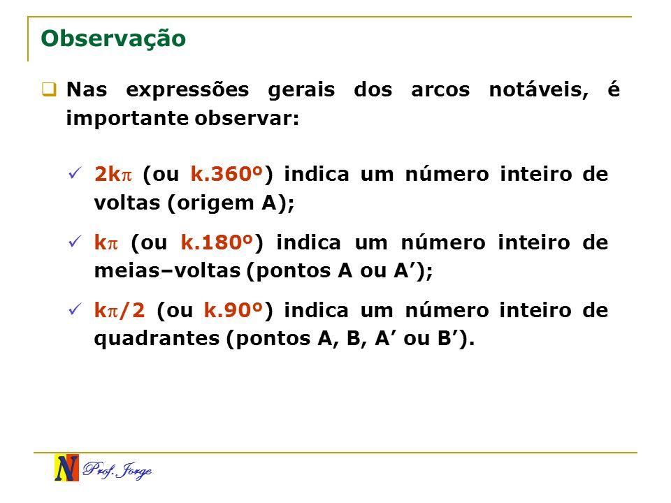 Prof. Jorge Nas expressões gerais dos arcos notáveis, é importante observar: Observação 2k (ou k.360º) indica um número inteiro de voltas (origem A);