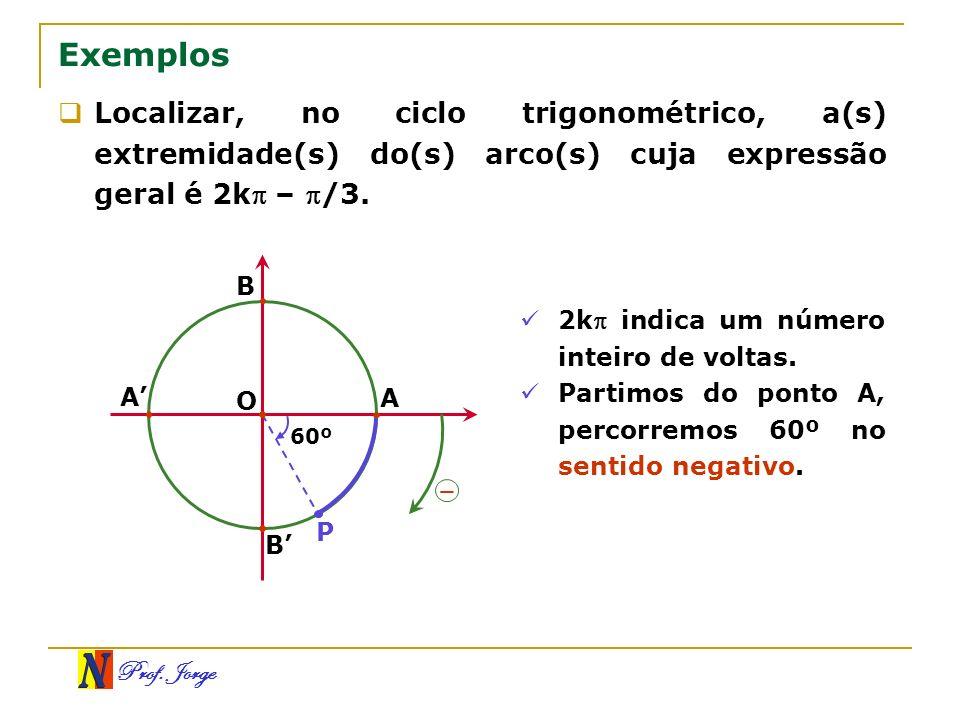 Prof. Jorge Exemplos Localizar, no ciclo trigonométrico, a(s) extremidade(s) do(s) arco(s) cuja expressão geral é 2k – /3. O A B A B P 60º – 2k indica