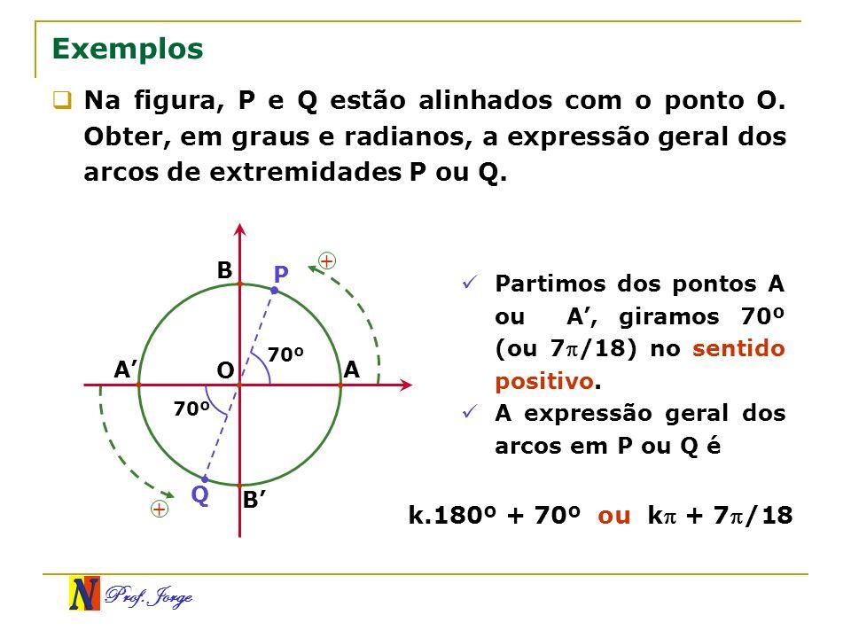Prof. Jorge Exemplos Na figura, P e Q estão alinhados com o ponto O. Obter, em graus e radianos, a expressão geral dos arcos de extremidades P ou Q. P