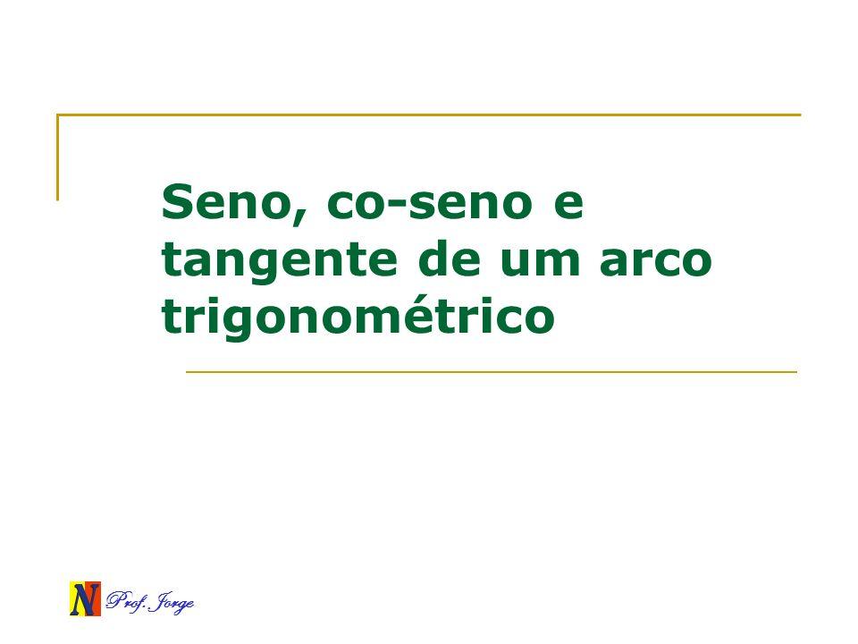 Prof. Jorge Seno, co-seno e tangente de um arco trigonométrico