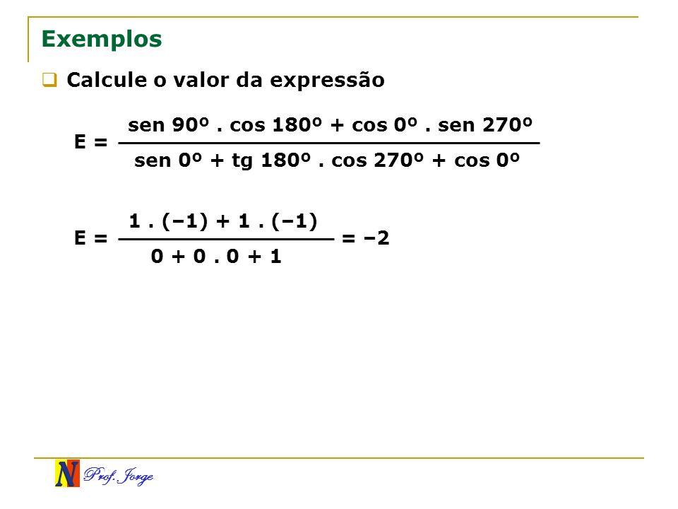 Prof. Jorge Exemplos Calcule o valor da expressão E = sen 90º. cos 180º + cos 0º. sen 270º sen 0º + tg 180º. cos 270º + cos 0º E = 1. (–1) + 1. (–1) 0