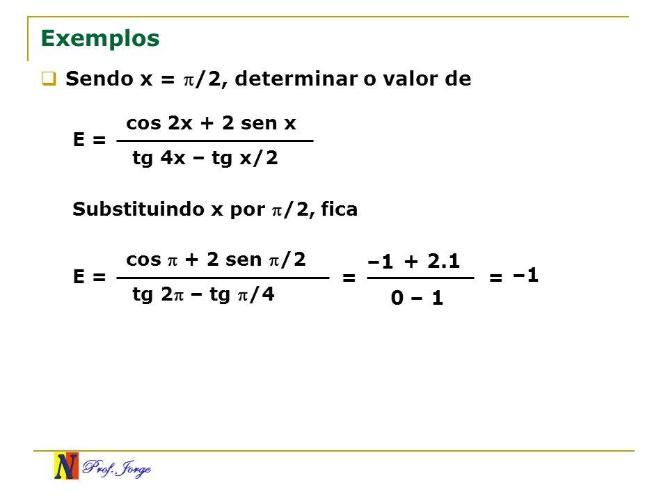 Prof. Jorge Exemplos Sendo x = /2, determinar o valor de E = cos 2x + 2 sen x tg 4x – tg x/2 Substituindo x por /2, fica E = cos + 2 sen /2 tg 2 – tg
